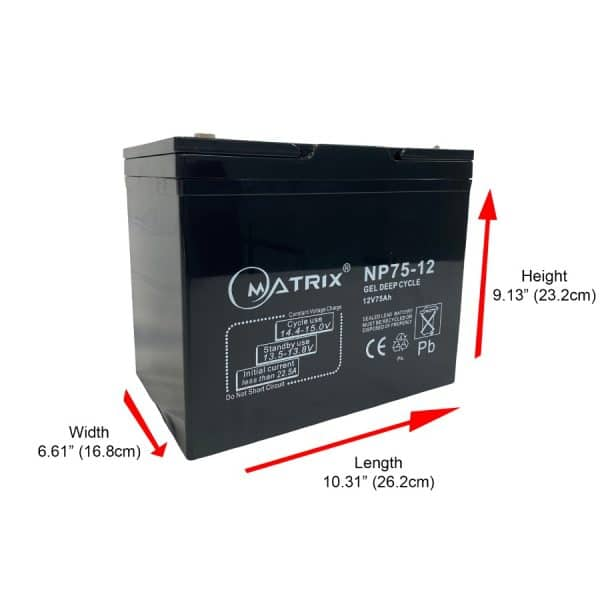 75AH AGM deep cycle replacement batteries